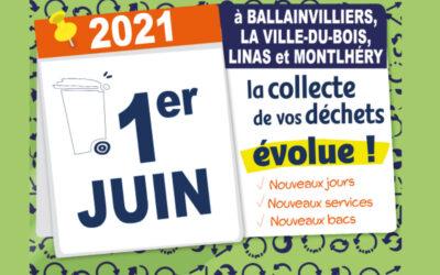 A Ballainvilliers, La Ville du Bois, Linas et Montlhéry : le service de collecte évolue le 1er juin 2021 !